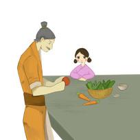原创手绘古装男子制作传统美食元素