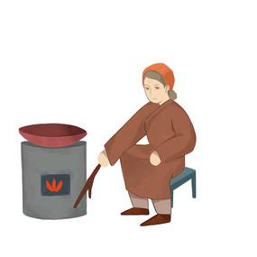 原创手绘古装女子烧火制作传统美食元素 PSD
