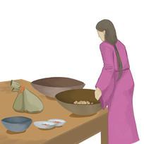 原创手绘古装女子制作传统美食元素
