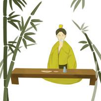 原创手绘竹子古装男子品尝美食元素