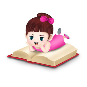 原创元素手绘读书小女孩