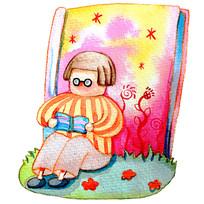 坐在地上看书