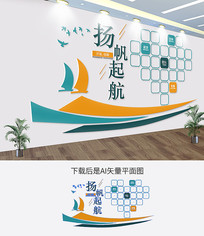 公司扬帆起航企业文化墙