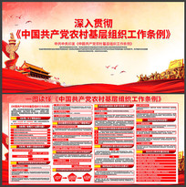 简约共产党农村基层组织工作条例宣传展板
