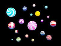 多彩立体圆球装饰元素