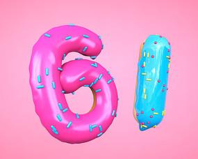 儿童节61字体数字饼干元素