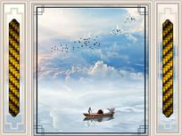 新中式大理石蓝天白云背景墙