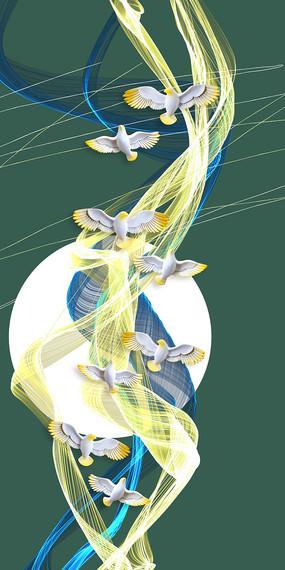 新中式抽象山水装饰画 PSD