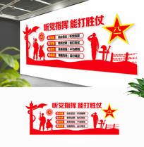红色四铁军人部队文化墙布置图