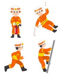 原创元素扁平化消防员人物