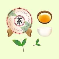 原创元素茶饼茶杯茶叶