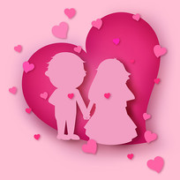 原创元素粉色爱心婚礼男孩女孩