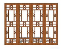 中式住宅木窗模型