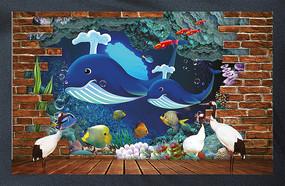 3D海底世界鲸鱼电视背景墙装饰画图片