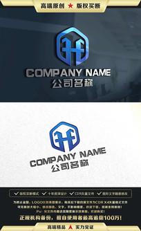 H字母标志HF字母LOGO设计