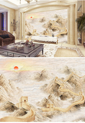 石材大理石石纹万里长城背景墙