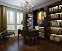 古典沉稳家装书房3D