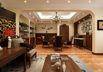 古典简约餐厅3D模型