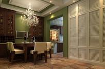 古典简约室内餐厅3D模型