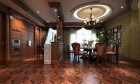 古典室内餐厅3D模型
