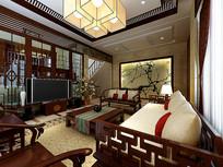 家装中式客厅3D模型