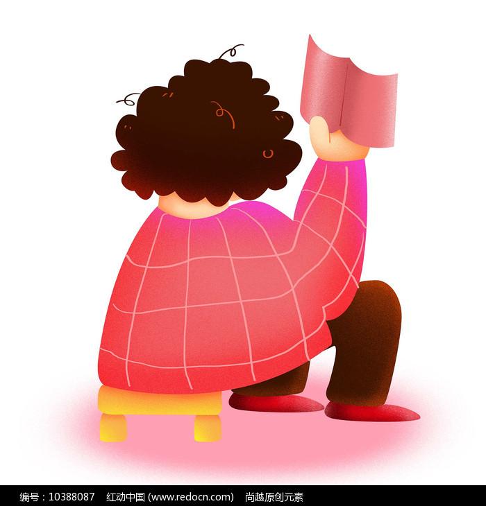 卡通可爱儿童阅读看书背影培训班元素图片