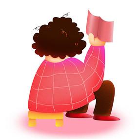 卡通可爱儿童阅读看书背影培训班元素