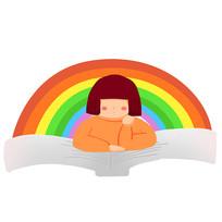 卡通可爱儿童阅读看书培训班彩虹元素