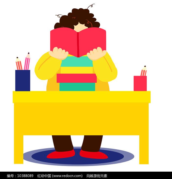 卡通可爱儿童阅读看书培训班元素图片