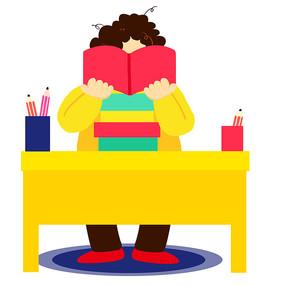 卡通可爱儿童阅读看书培训班元素