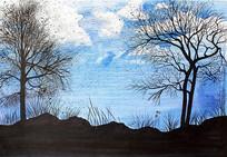 蓝天枯树手绘景观