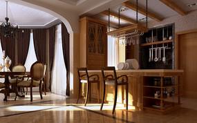 欧式现代餐厅厨房3D