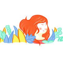 手绘创意春天微笑女孩插画元素
