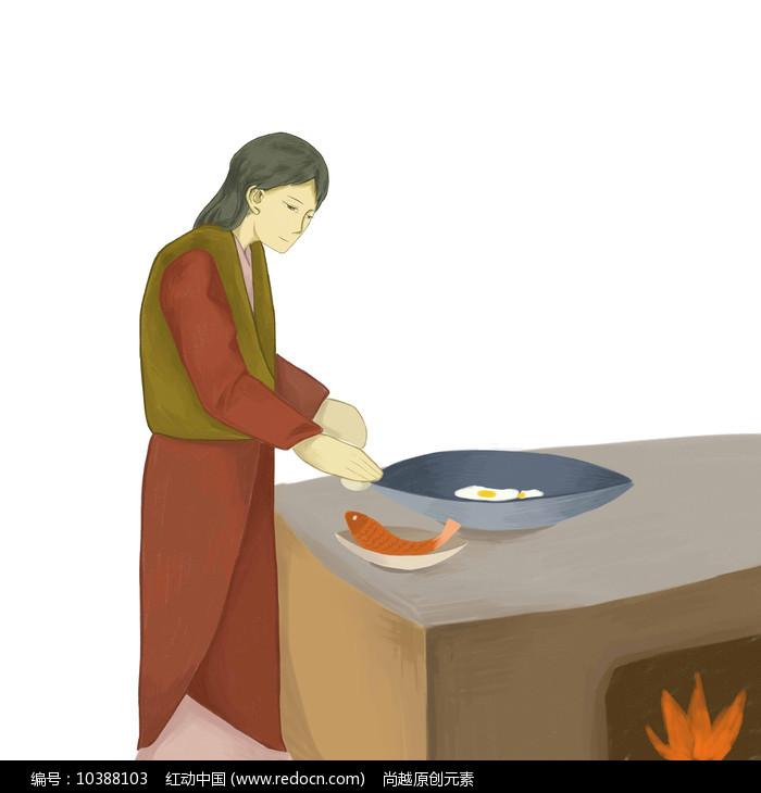 手绘创意制作美食过程炒菜元素图片