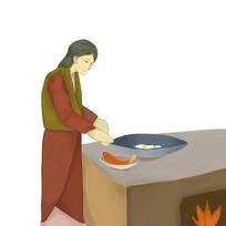 手繪創意制作美食過程炒菜元素