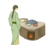 手繪創意制作美食過程農家樂炒菜元素