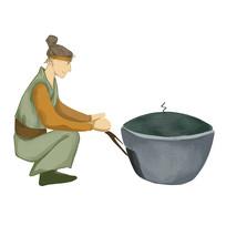 手繪創意制作美食過程農家樂燒火元素
