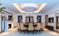 现代大型圆形餐厅室内3D