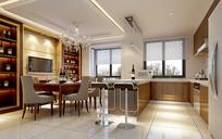 现代风室内餐厅厨房3D模型