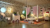 鲜花元素家装卧室3D模型