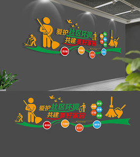 校园卫生角文化墙