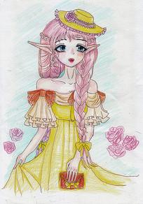 原创动漫粉色漂亮女孩元素