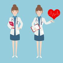 原创元素手绘卡通女医生护士素材