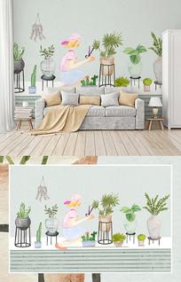 北欧手绘小清新植物盆栽背景壁画