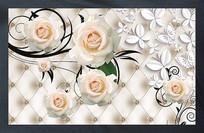 蝴蝶恋3D立体白玫瑰花软包背景墙