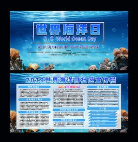 蓝色唯美世界海洋日宣传展板