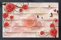 玫瑰简欧风格大理石立体电视沙发背景墙