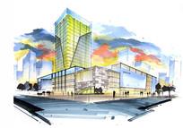 现代高层商城建筑手绘