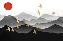 新中式山水風景客廳裝飾畫