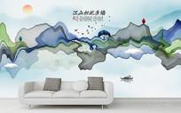 新中式水墨山水装饰画背景墙